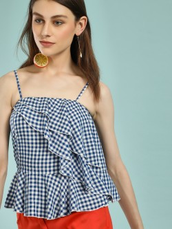 Street9 Gingham Check Frill Peplum Top