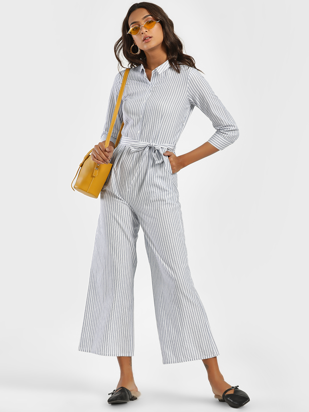 Street9 Blue Stripe Collared Culotte Jumpsuit 1
