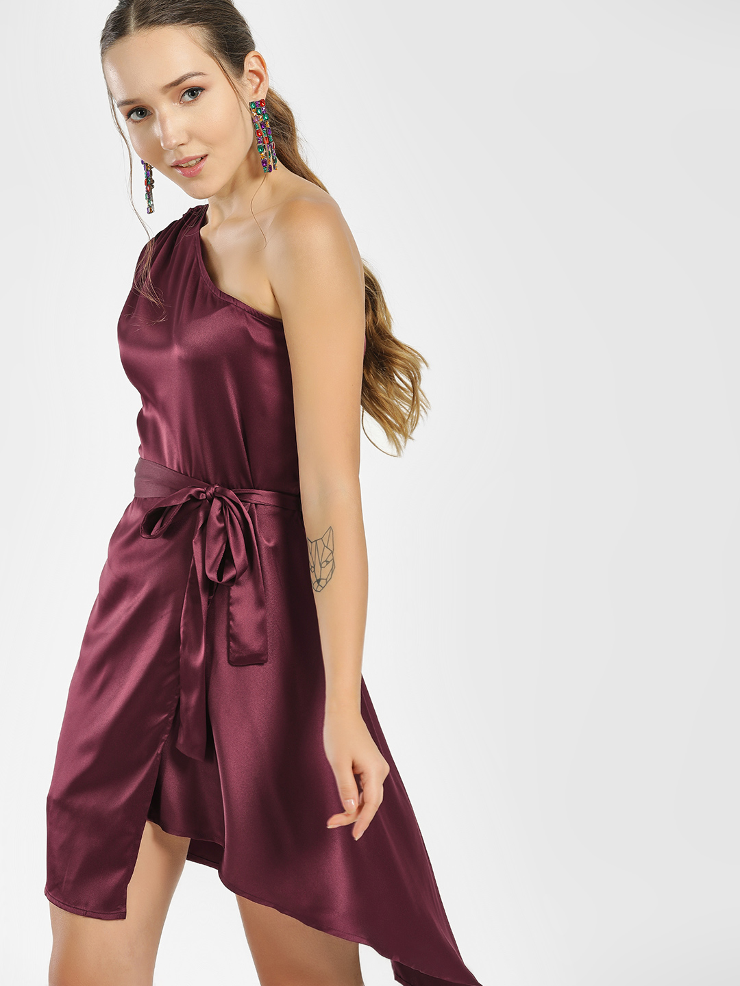 Street9 Purple One Shoulder Asymmetric Dress 1