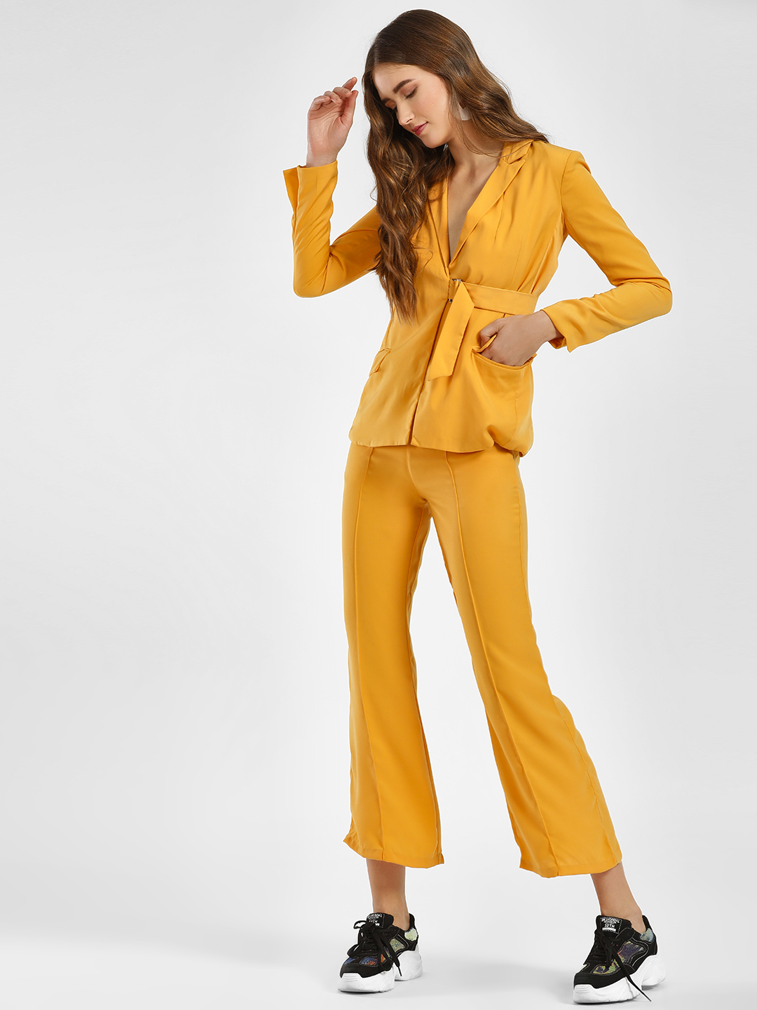 Street9 Mustard Front Tie-Up Cropped Trousers 1