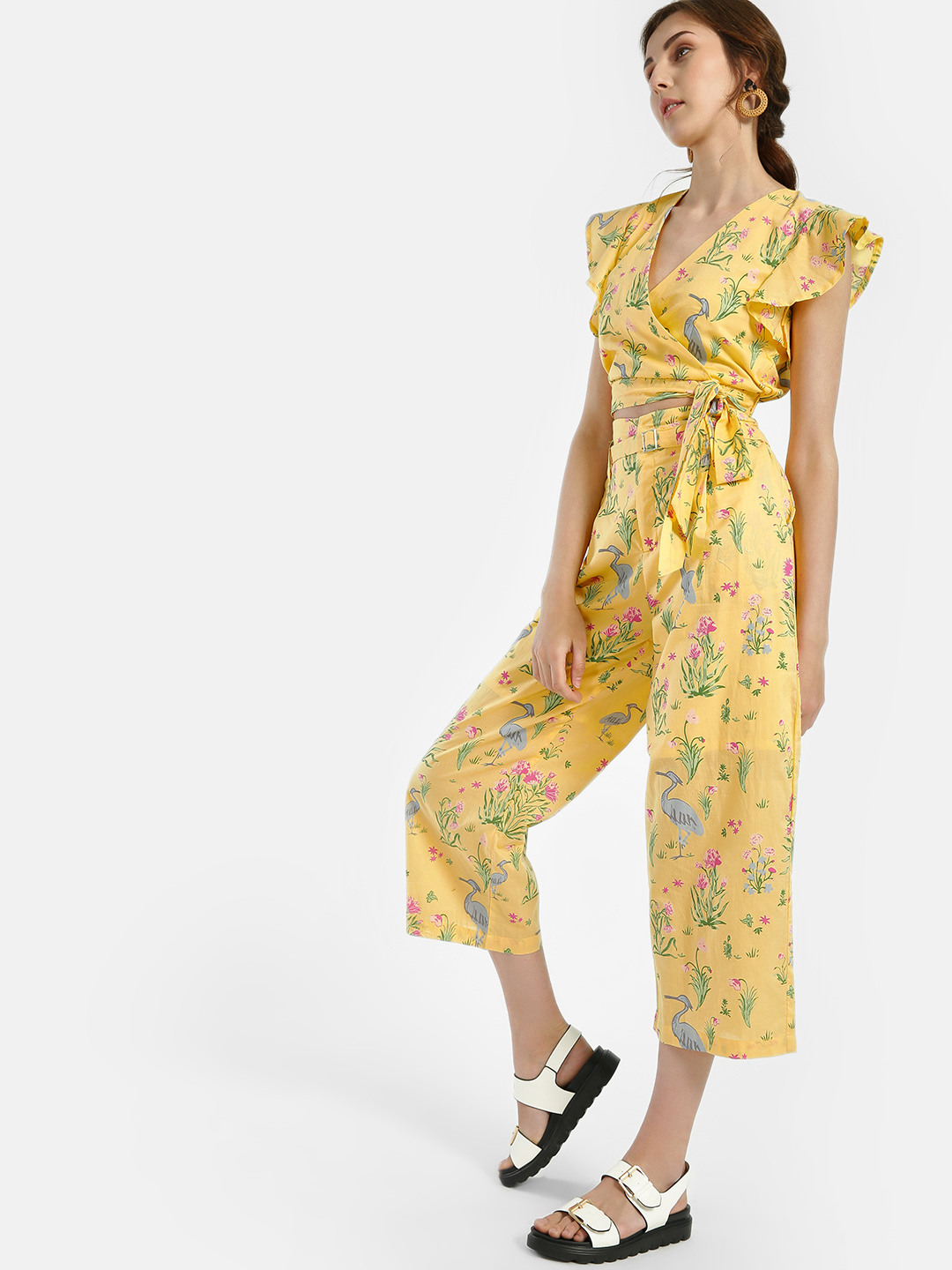 Spring Break Yellow Flamingo Tropical Print Cropped Trousers 1