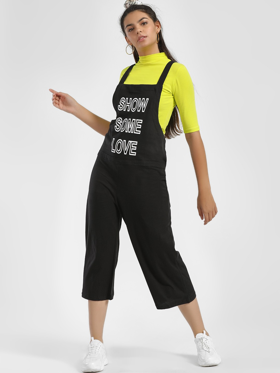 Spring Break Black Show Some Love Print Dungarees 1