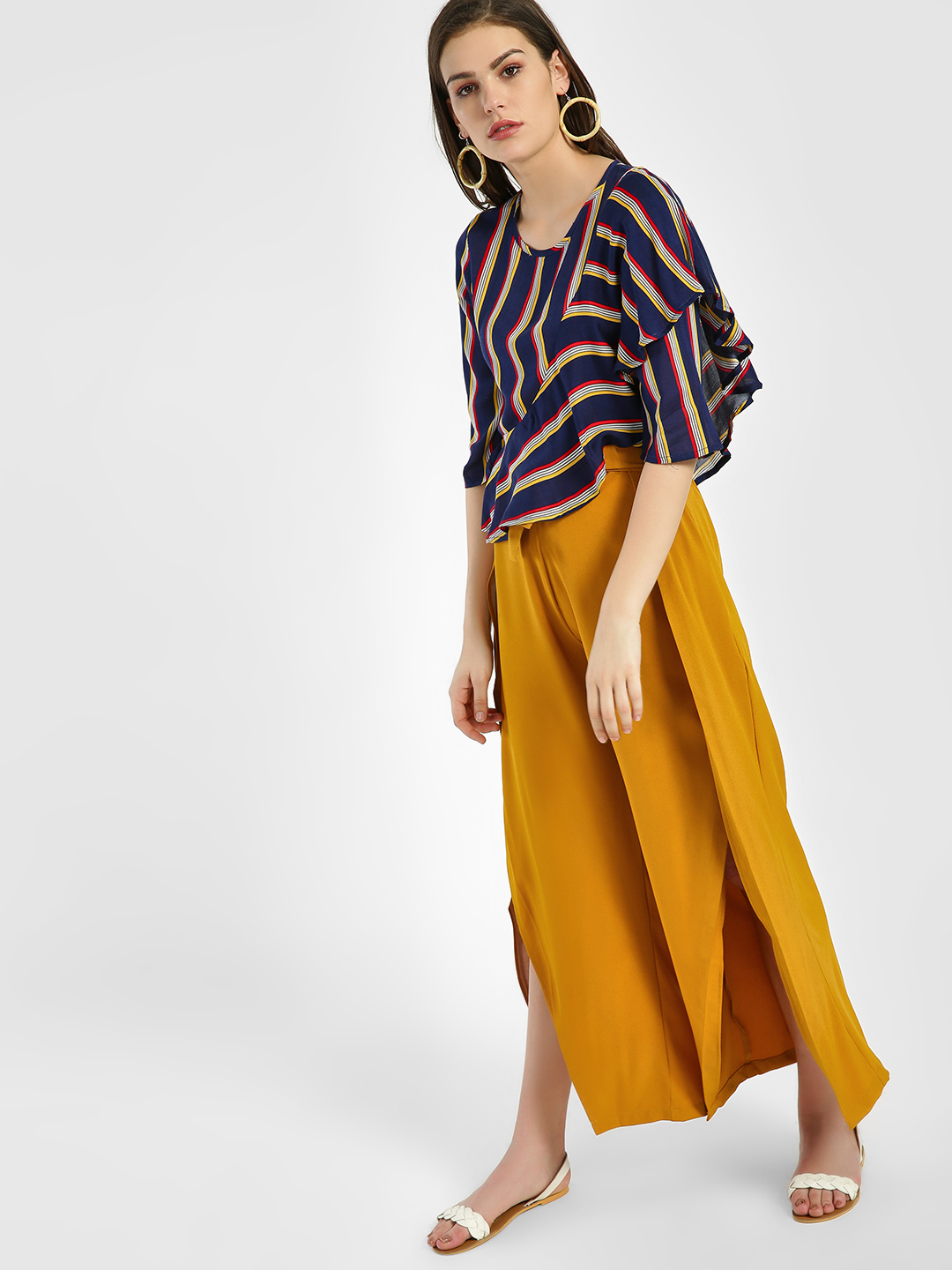KOOVS Yellow Tie-Knot Waist Cropped Trousers 1
