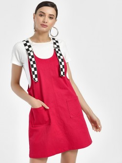 KOOVS Checkerboard Strap Pinafore Shift Dress