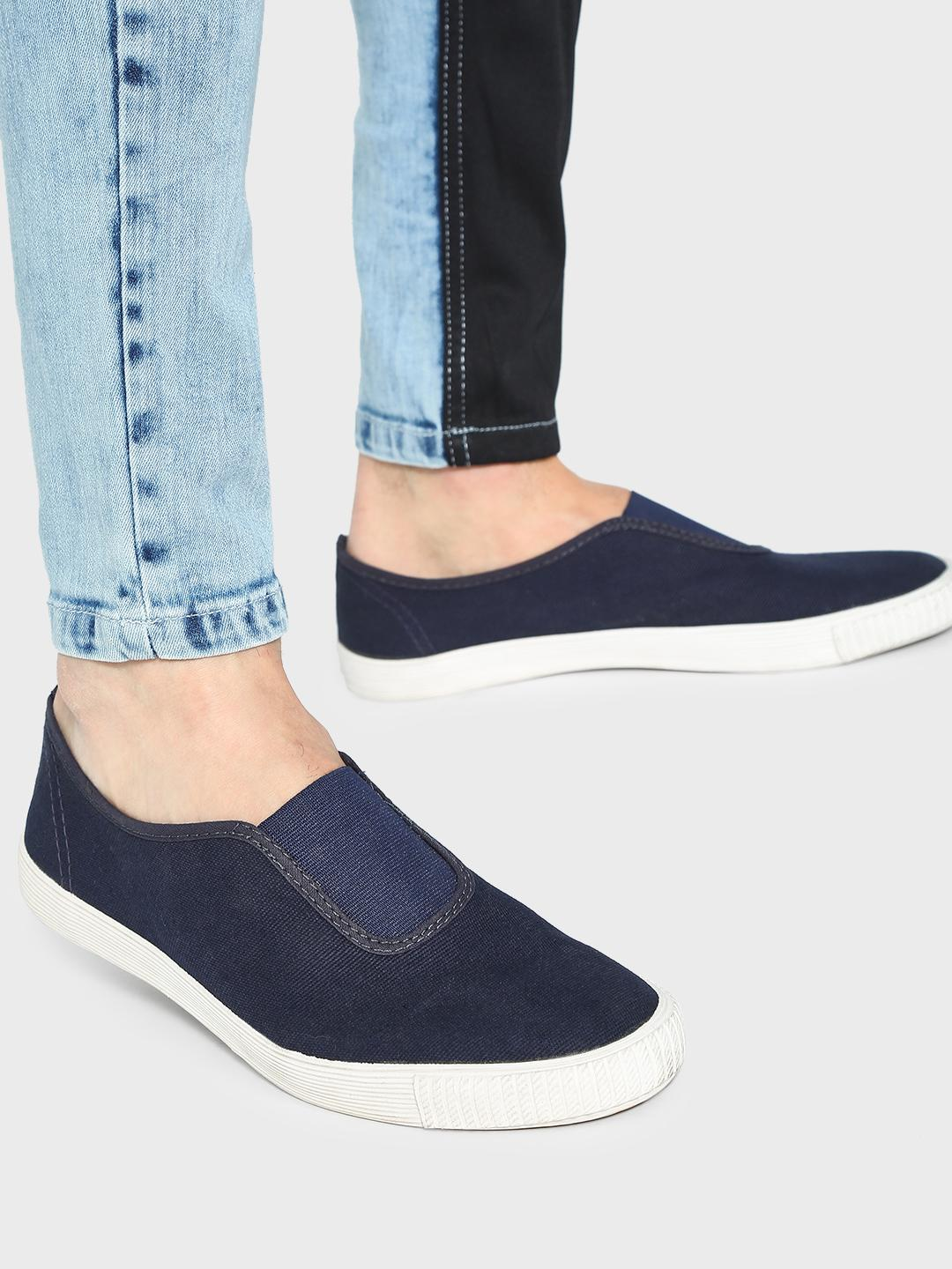 KOOVS Navy Slip-On Gusset Plimsoll Shoes 1