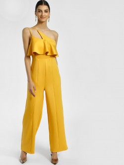 KOOVS Asymmetric Neck Sleeveless Jumpsuit