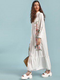 Origami Lily Floral Print Tiered Detail Maxi Dress