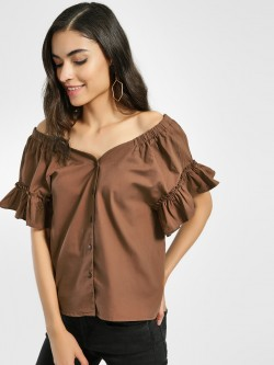 Origami Lily Frill Sleeve Bandeau Top