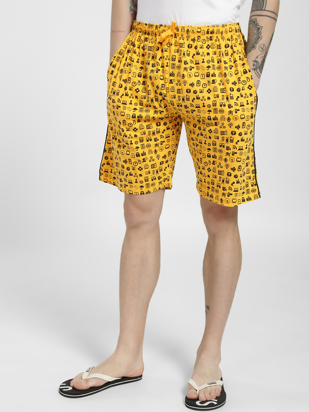 Tantra Yellow All Over Printed Lounge Shorts 1