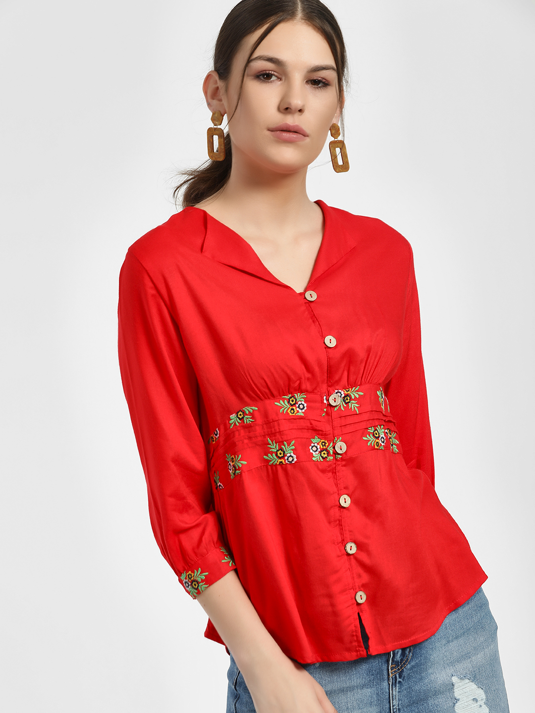 Rena Love Red Button Down Embroidered Blouse 1