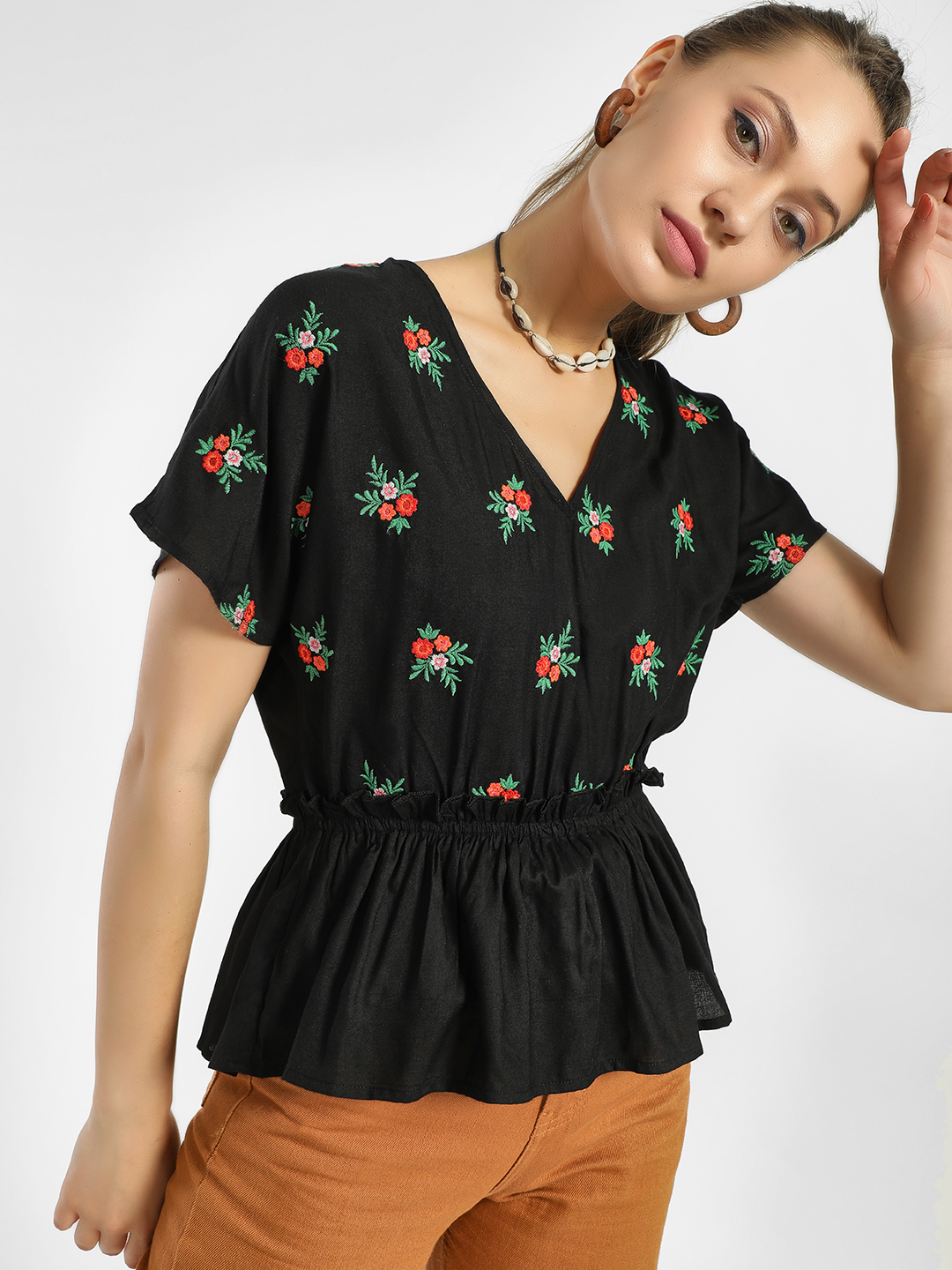Rena Love Black Floral Embroidered Peplum Blouse 1
