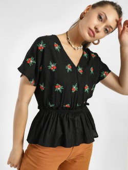 Rena Love Floral Embroidered Peplum Blouse