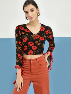 Rena Love Floral Print Tassel Detail Crop Top