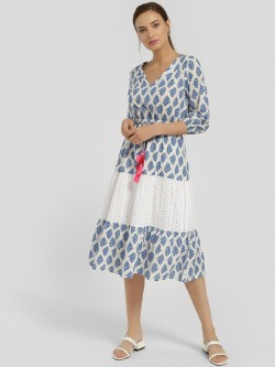 Rena Love Floral Print Broderie Panel Midi Dress