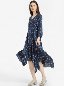 Rena Love Ditsy Floral Print Asymmetric Dress