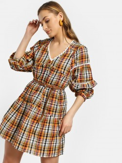 Rena Love Lace Insert Checked Shift Dress