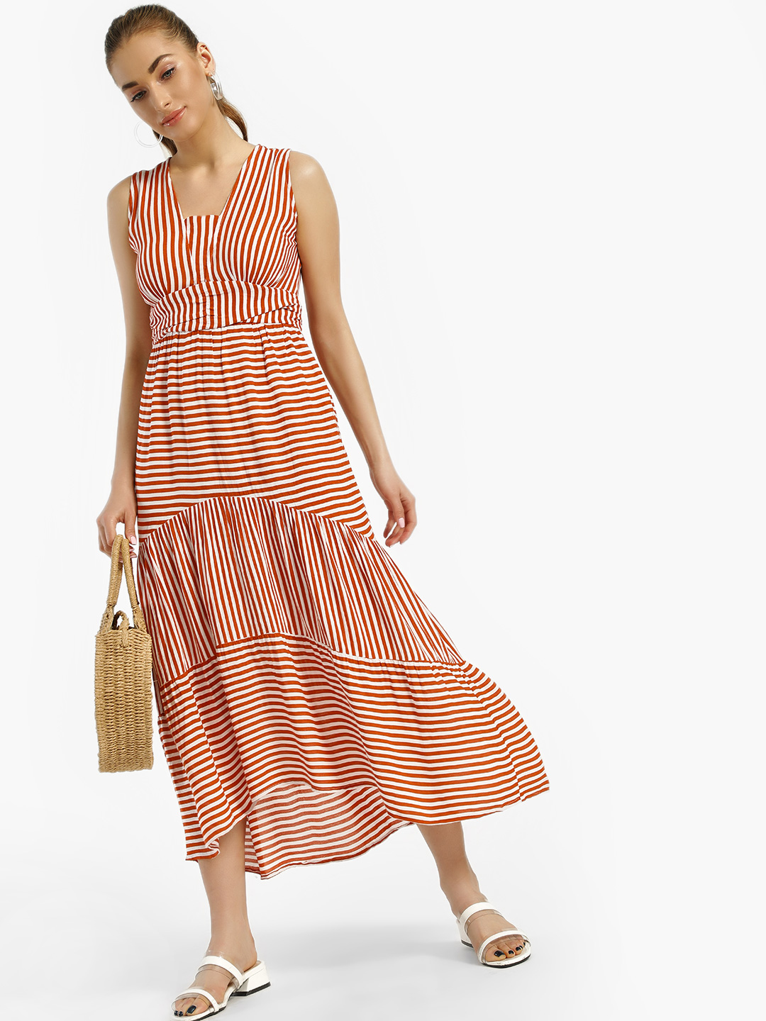Rena Love Mustard Multi Stripe Tie Knot Midi Dress 1
