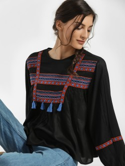 Rena Love Tassel Embroidered Blouse