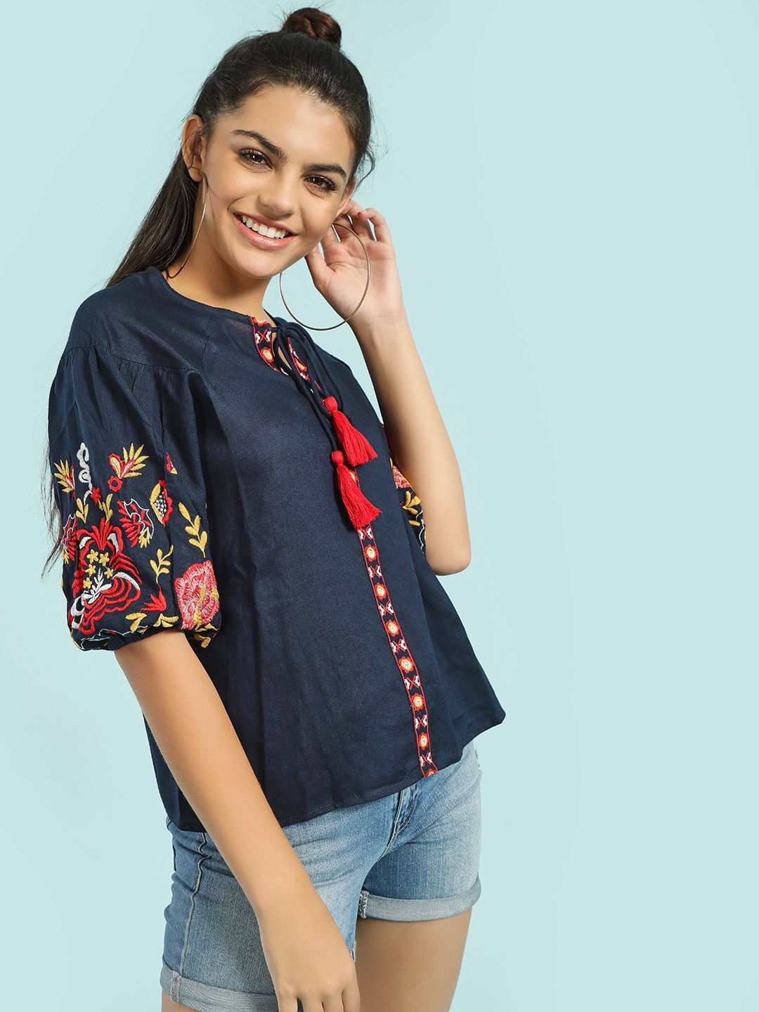 Rena Love Blue Floral Embroidered Blouse 1