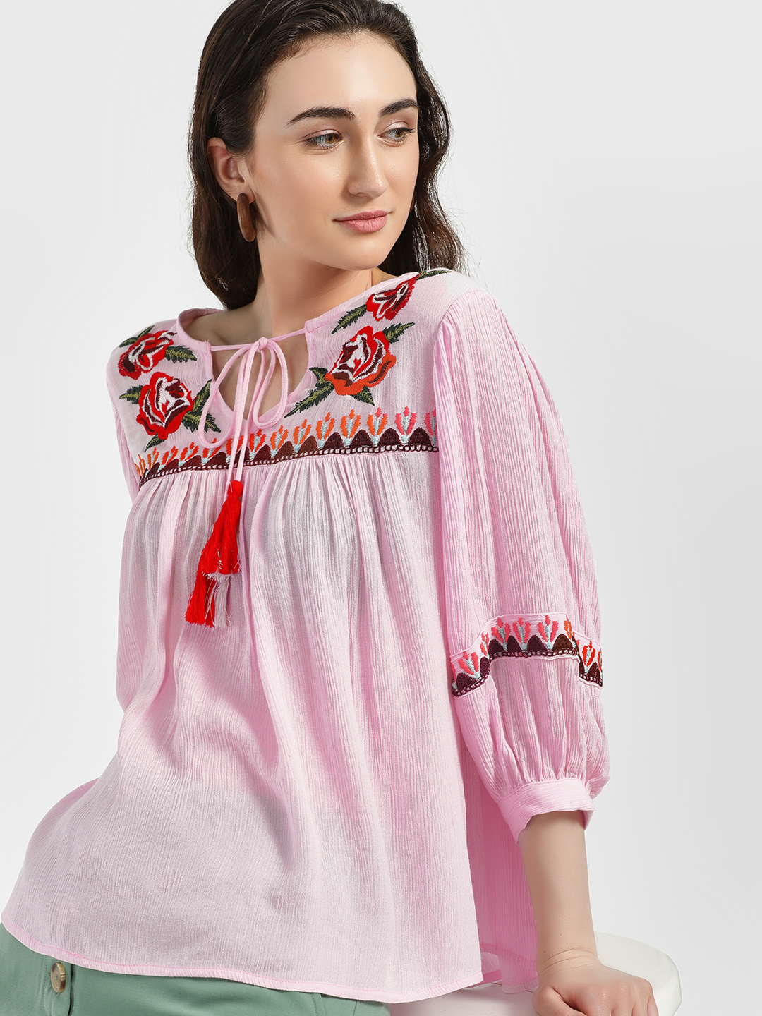 Rena Love Pink Floral Embroidered Flared Blouse 1