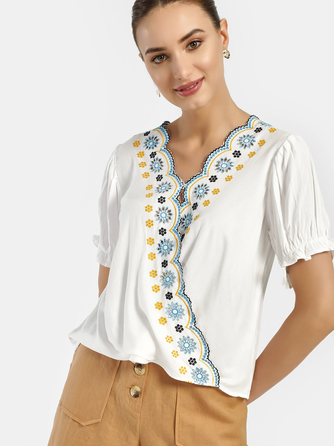 Rena Love White Broderie Scalloped Edge Wrap Blouse 1