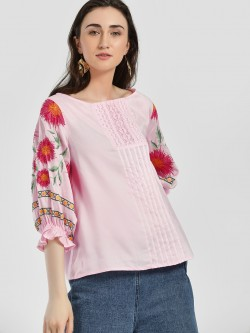 Rena Love Floral Embroidered Volume Sleeve Blouse