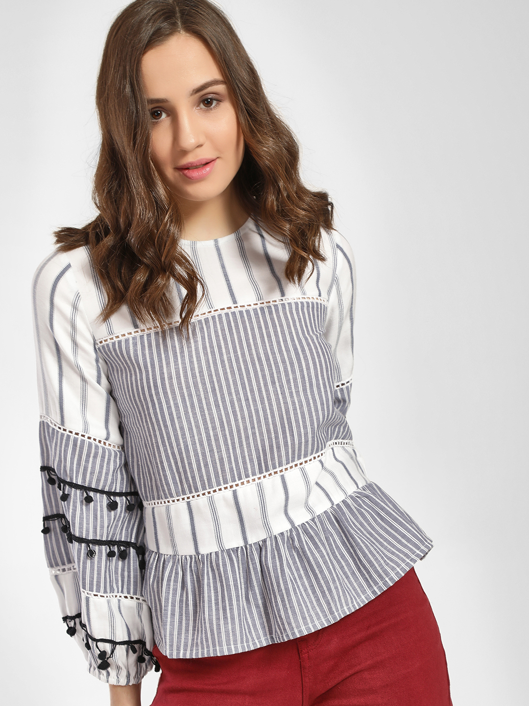 Rena Love Multi Mixed Stripe Peplum Blouse 1
