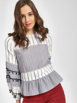Rena Love Mixed Stripe Peplum Blouse