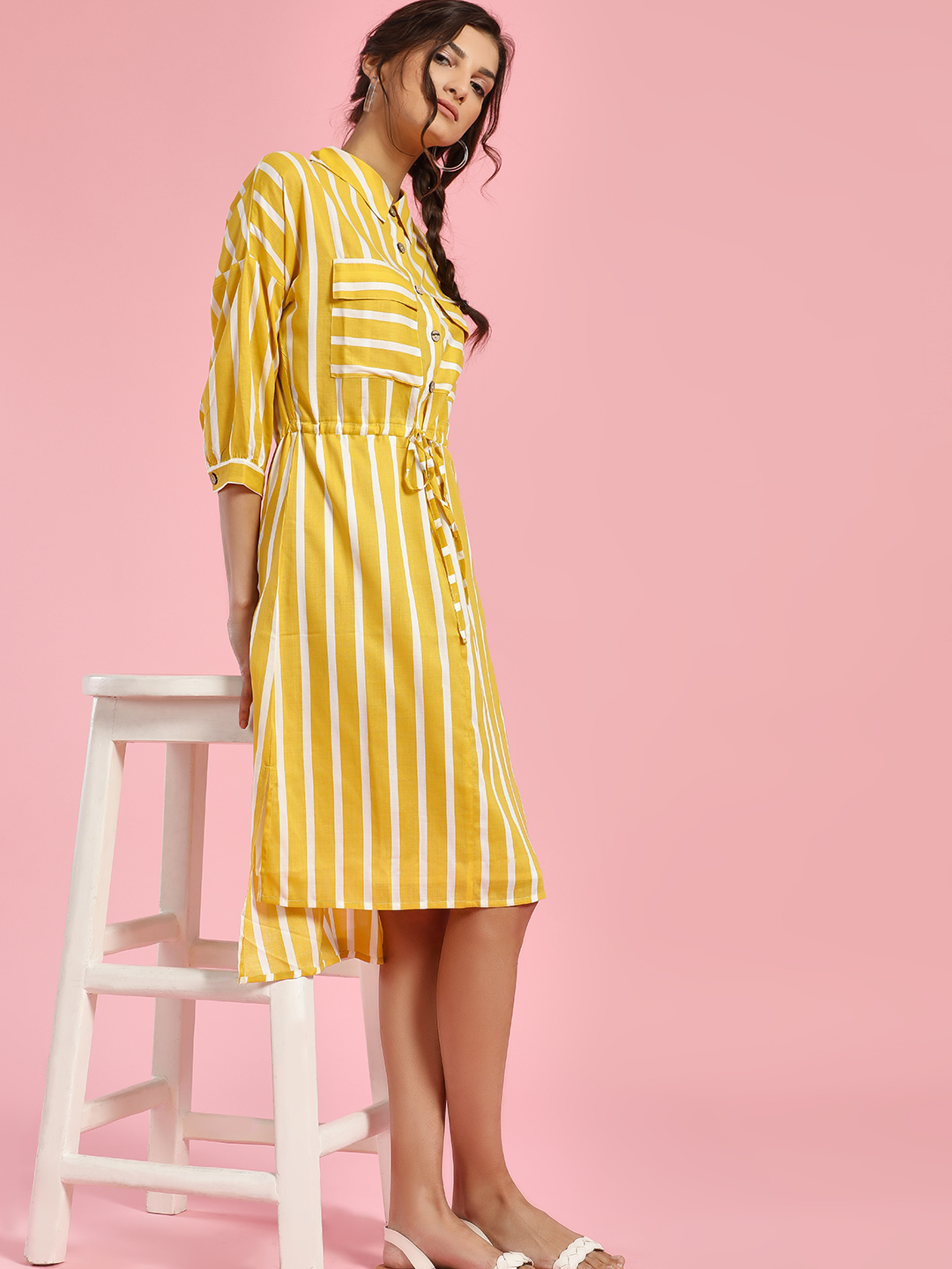 Rena Love Yellow Stripe High-Low Shirt Dress 1
