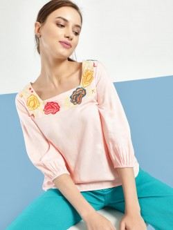 Rena Love Floral Embroidered Back Tie-Up Blouse