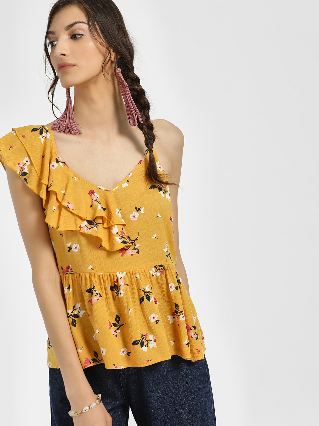 Rena Love Yellow Floral Print One Shoulder Blouse 1