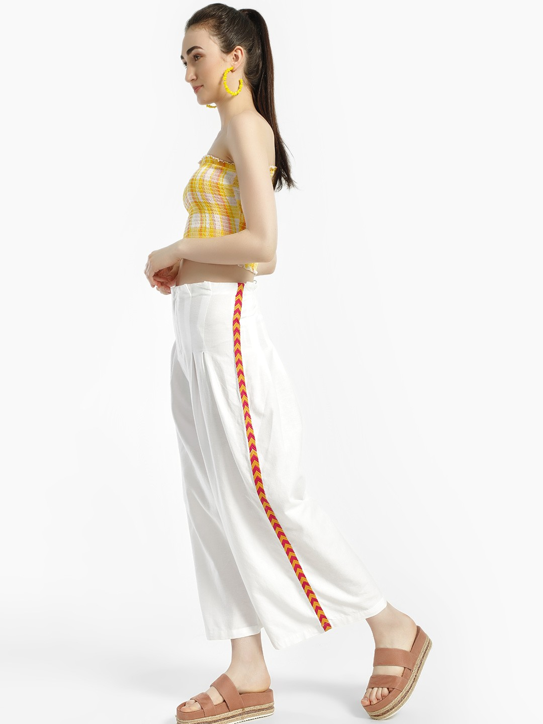 Rena Love White Contrast Side Embroidered Stripe Trousers 1