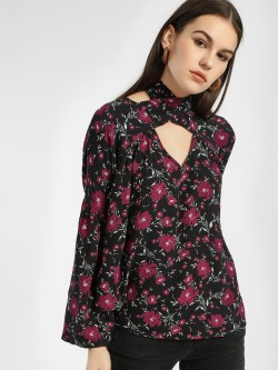 Rena Love Floral Print Tie-Knot Blouse