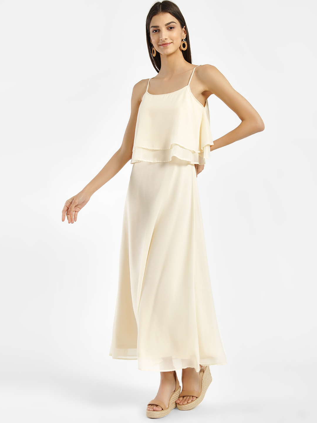 Femella ECRU Overlay Strappy Maxi Dress 1