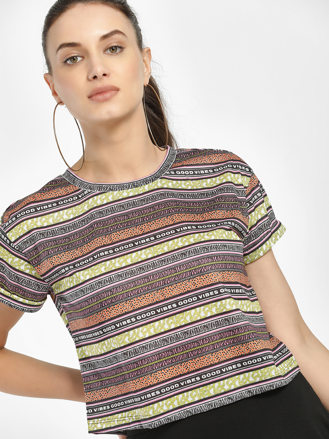 KOOVS Multi Mixed Slogan Print Cropped T-Shirt 1