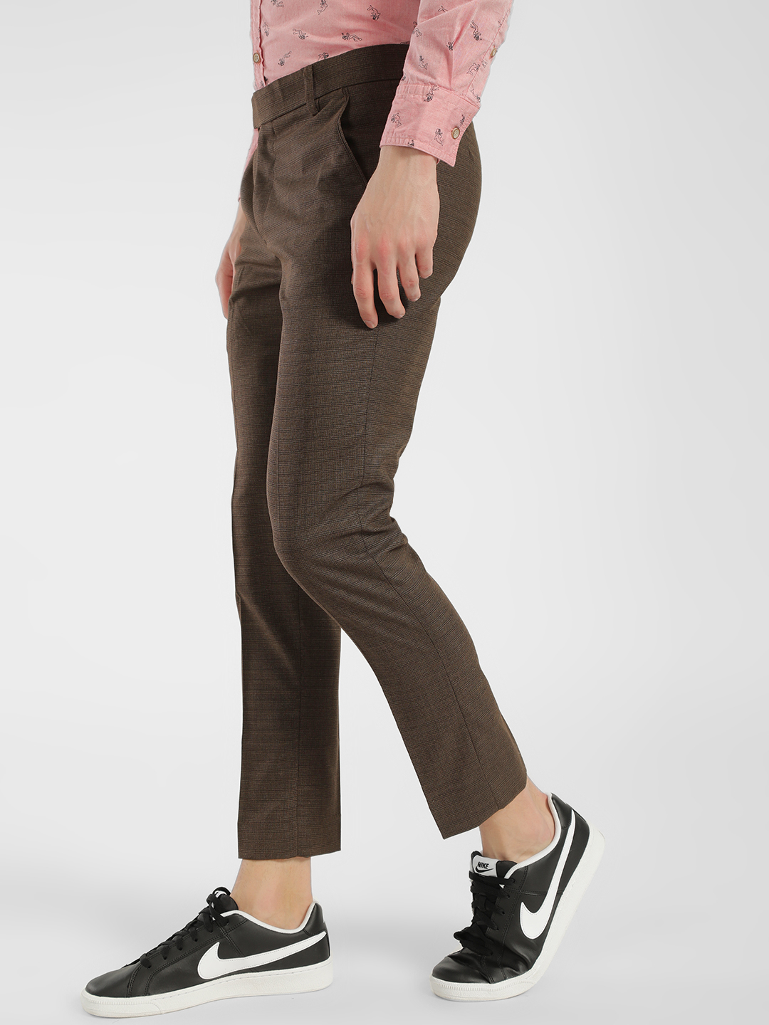 Mr Button Brown Micro Check Slim Trousers 1