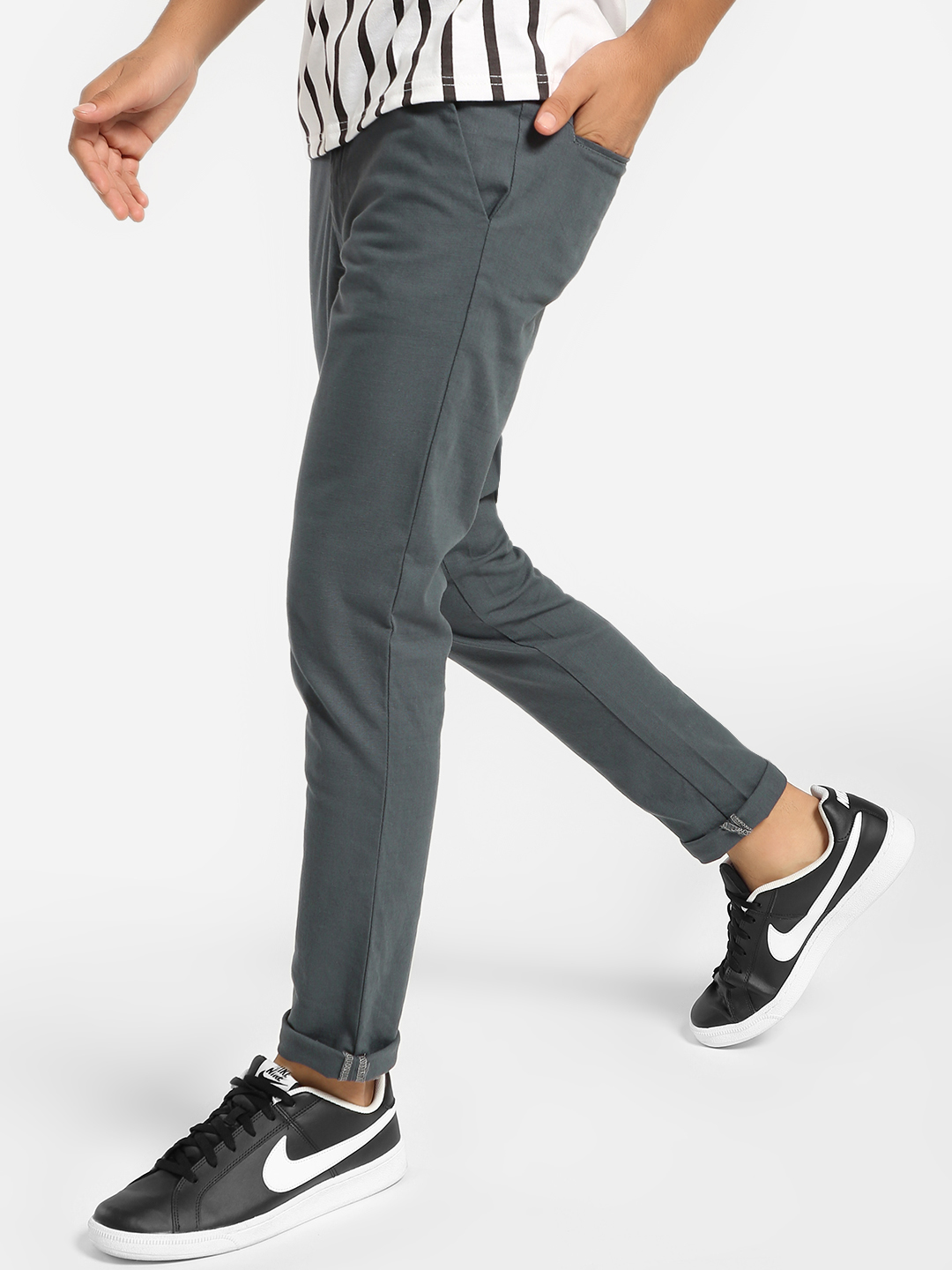 Mr Button Grey Drawcord Slim Trousers 1