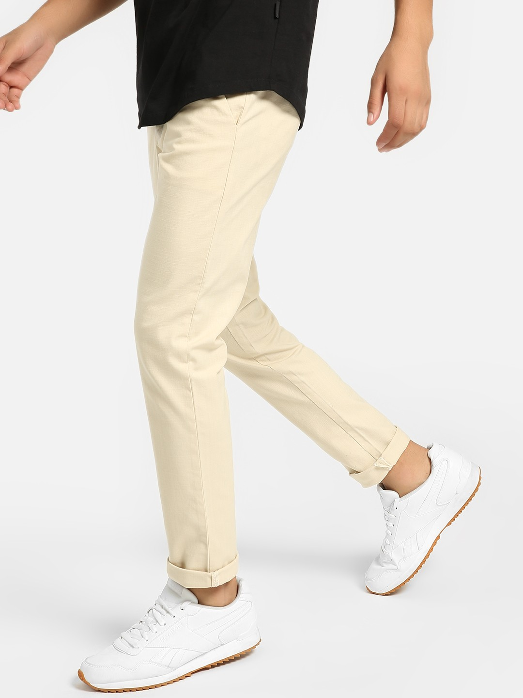 Mr Button Beige Drawcord Slim Trousers 1