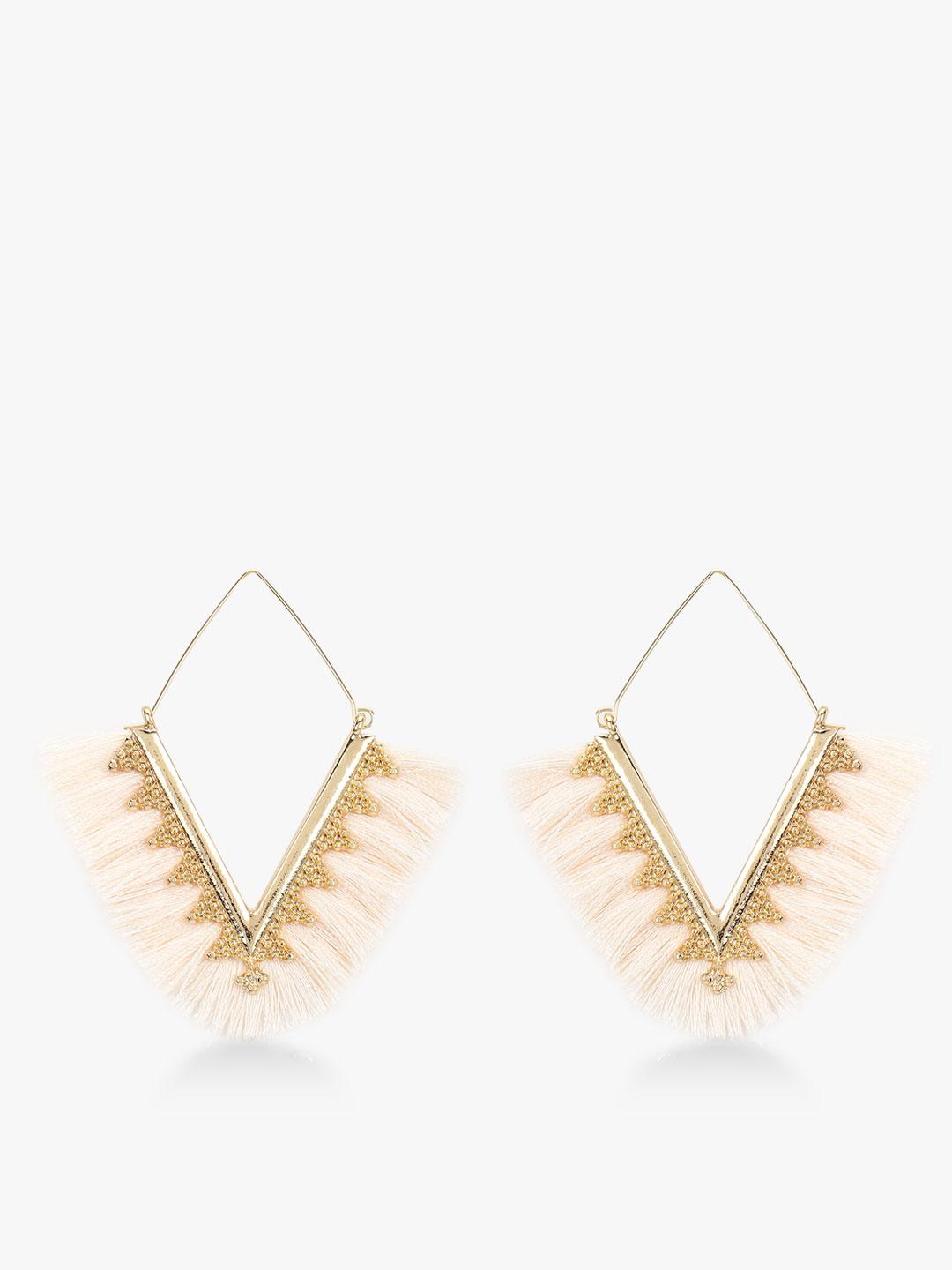 Style Fiesta White Triangular Tassel Drop Earrings 1