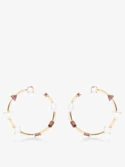 Style Fiesta Crystal Embellished Hoop Earrings