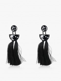 Style Fiesta Marble Design Tassel Earrings