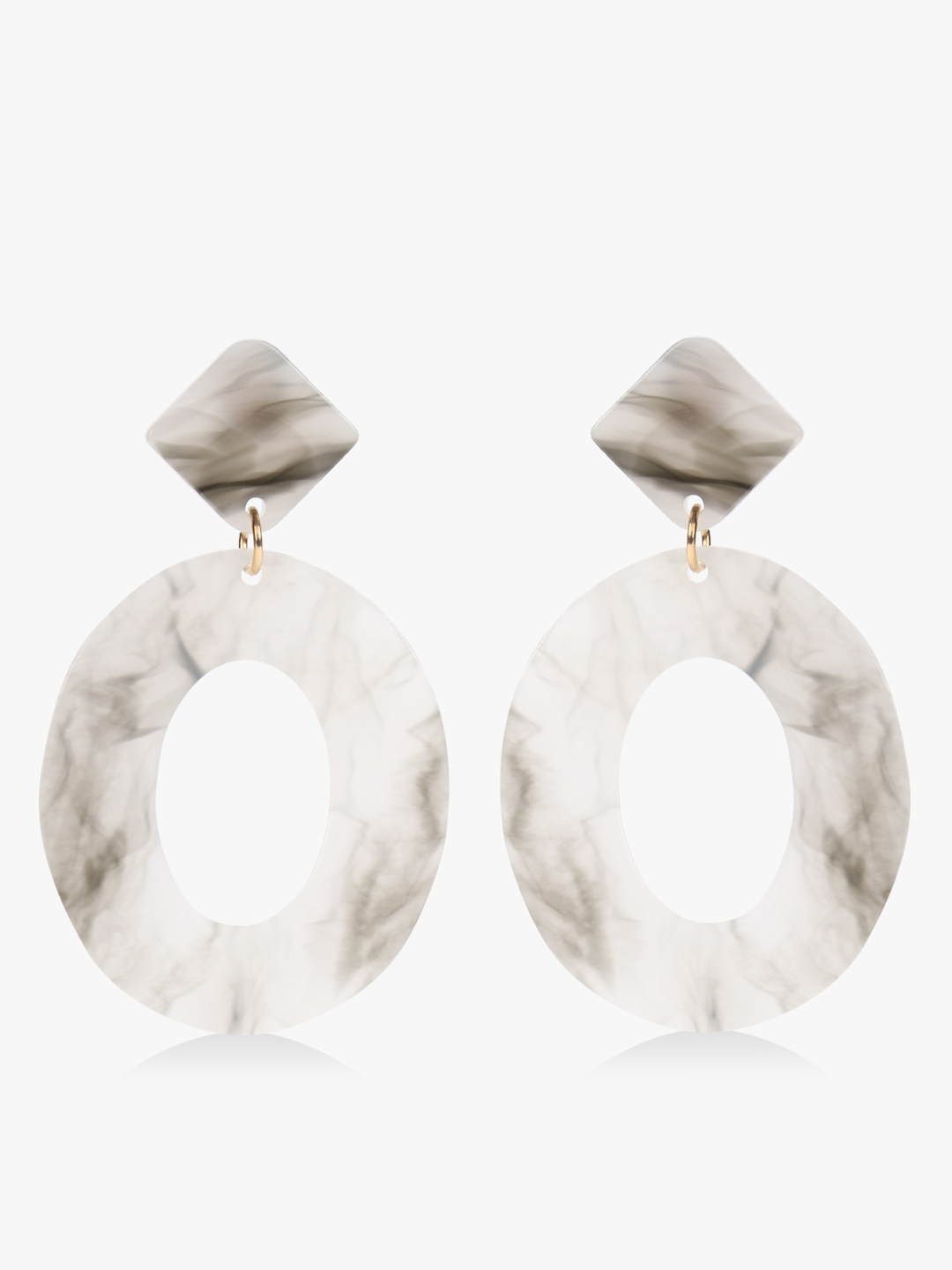 Style Fiesta White Marble Texture Earrings 1