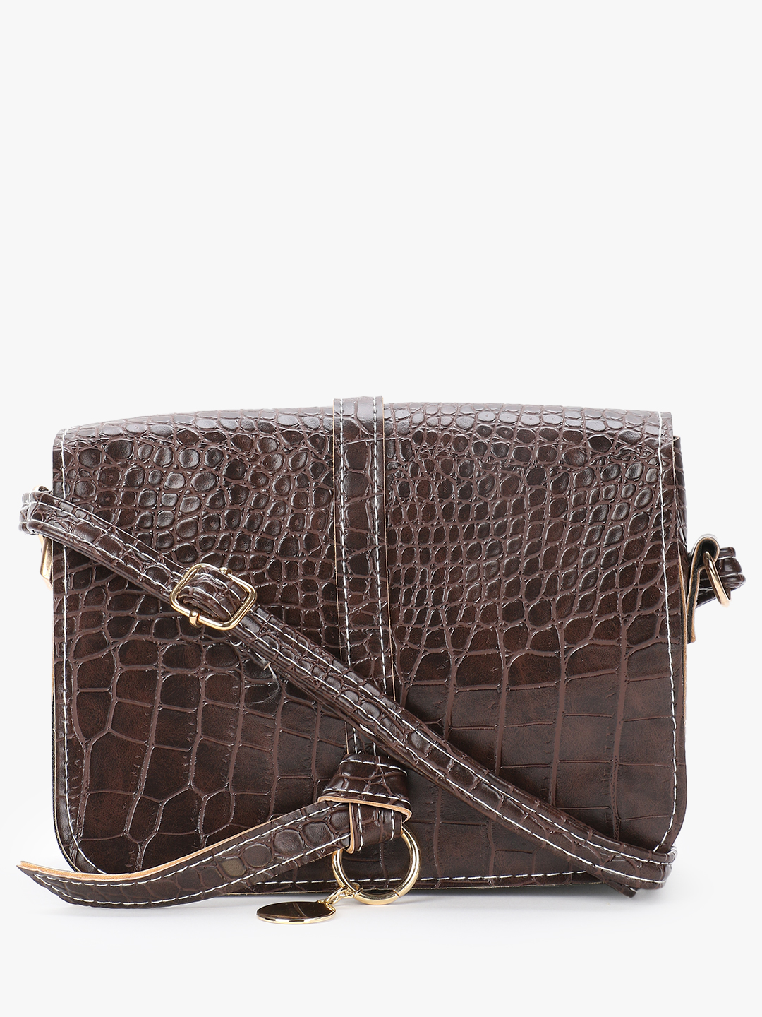 Style Fiesta Brown Crocskin Structured Sling Bag 1