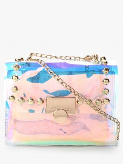 Style Fiesta Holographic Studded Sling Bag