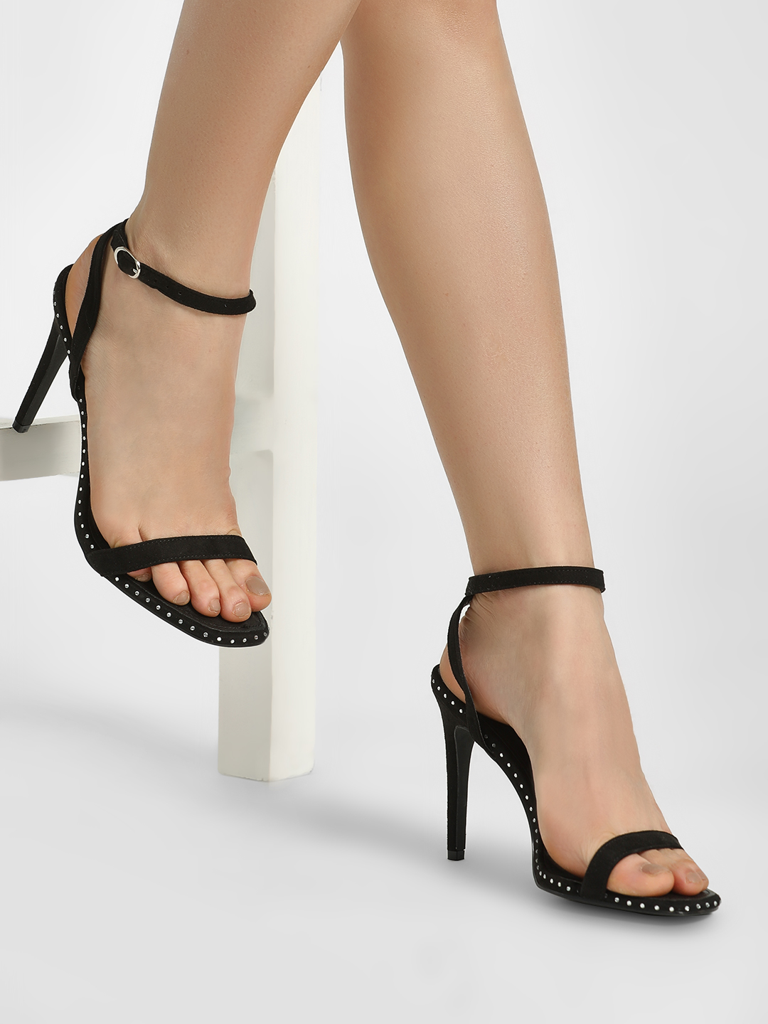 Truffle Collection Black Studded Sole Heeled Sandals 1