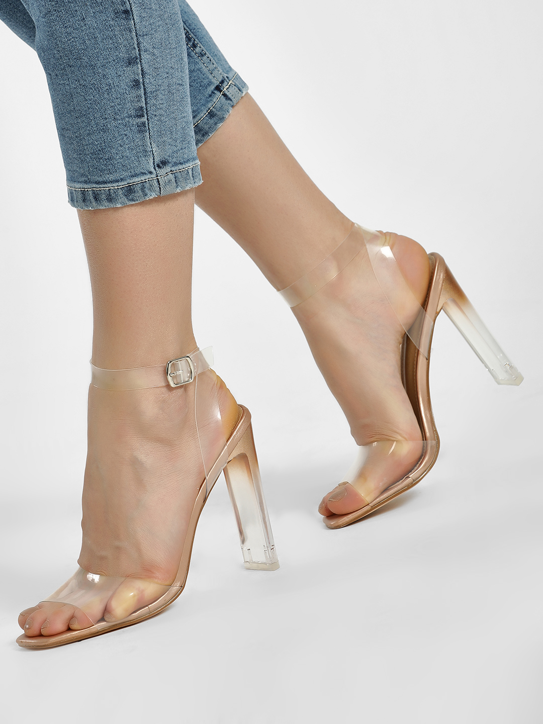 Truffle Collection Pink Clear Strap Metallic Heeled Sandals 1