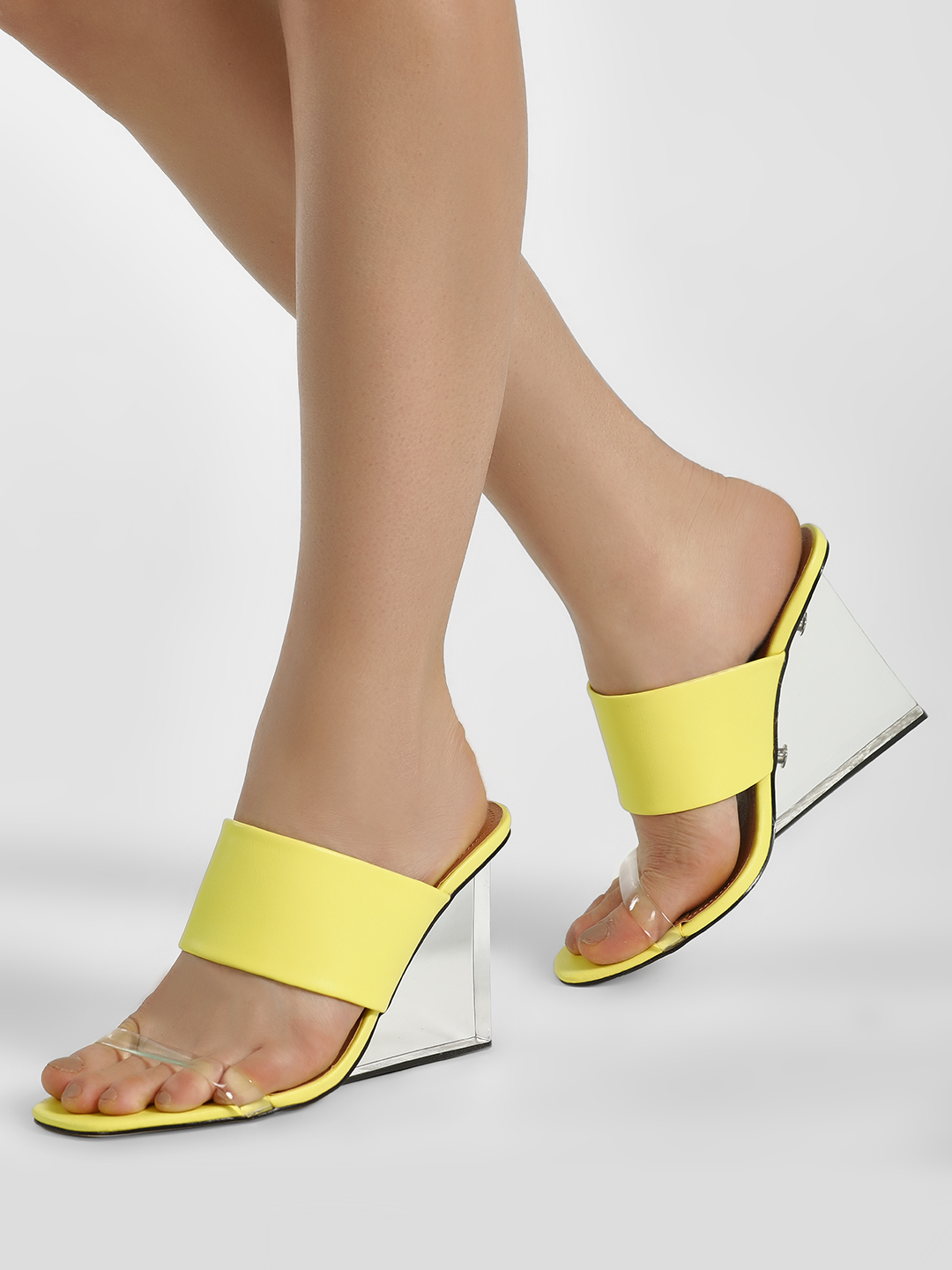 Truffle Collection Yellow Clear Heel Double Strap Wedges 1
