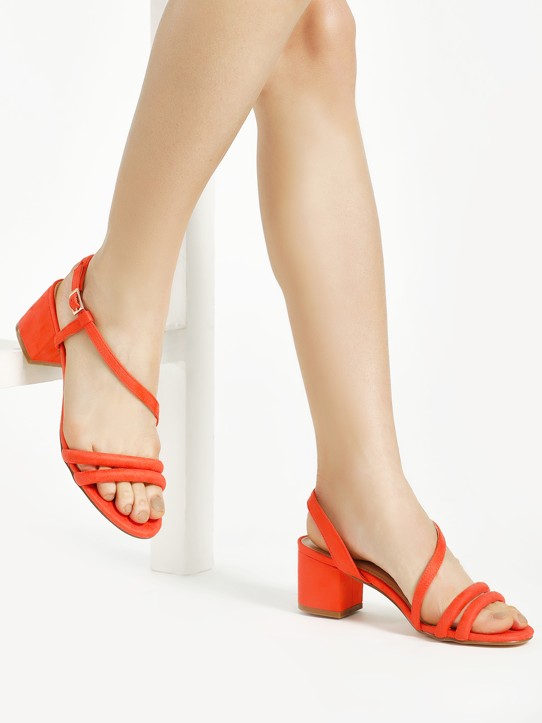 Truffle Collection Orange Suede Double Strap Block Heeled Sandals 1