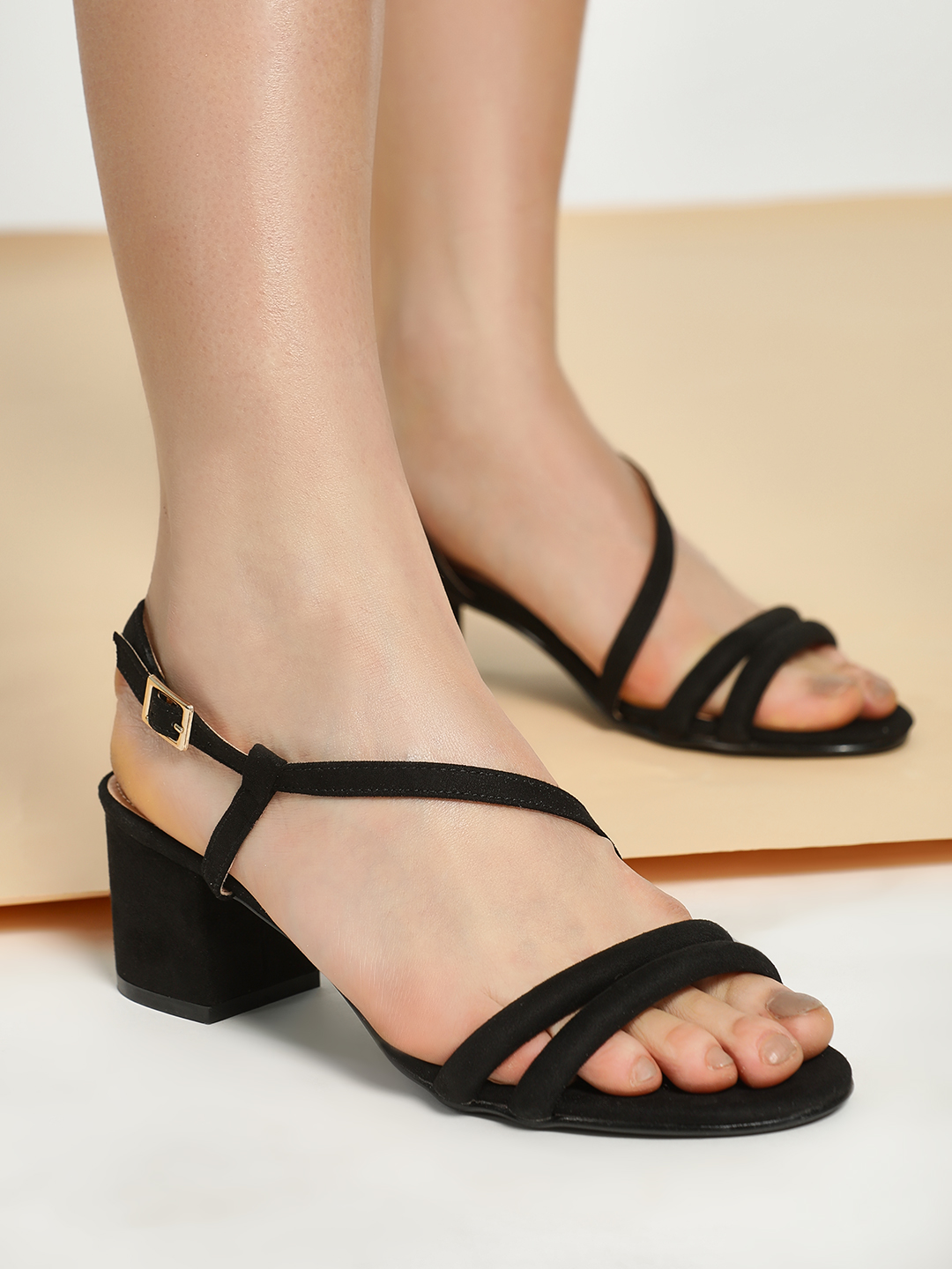 Truffle Collection Black Suede Double Strap Block Heeled Sandals 1