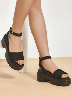 Truffle Collection Suede Strap Chunky Sole Heeled Sandals